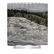 Calcite Bench - Mammoth Hot Springs Shower Curtain