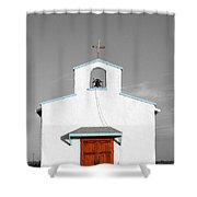 Calera Mission Chapel Facade In West Texas Color Splash Black And White Shower Curtain