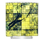 Caliente Geometric Yellow Shower Curtain