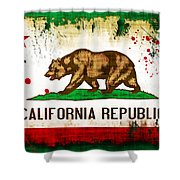 California Grunge Style Flag Shower Curtain