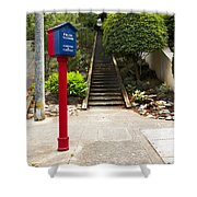Call Box With Stairs Shower Curtain