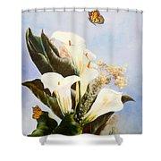 Callas And Butterflies Shower Curtain