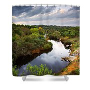 Calm River Shower Curtain by Carlos Caetano