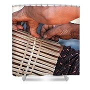 Cambodian Basket Weaver Shower Curtain