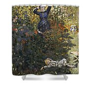 Camille And Jean In The Garden At Argenteuil  Shower Curtain