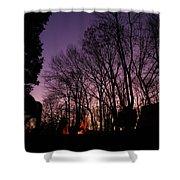 Camp Fire Sunset Shower Curtain