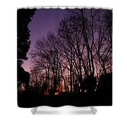 Camp Fire Sunset Shower Curtain