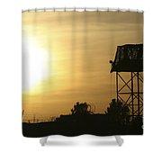 Camp Warhorse Guard Tower At Sunset Shower Curtain