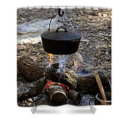 Campfire Cooking Shower Curtain by David Lee Thompson