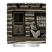 Canadian Gothic Sepia Shower Curtain