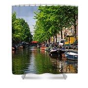 Canal Scene In Amsterdam Shower Curtain