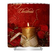 Candle Light Christmas Card Shower Curtain