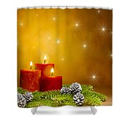 Candles Decorated Branches Of A Pine Tree And Fir Cones Shower Curtain