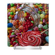Candy Jar Spilling Candy Shower Curtain