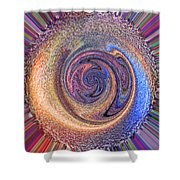 Candy Stripe Planet Shower Curtain