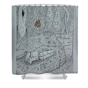Canine Skull And Butterfly Shower Curtain