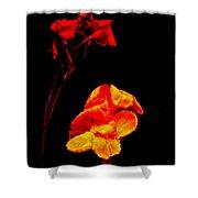 Canna Lilies On Black Shower Curtain