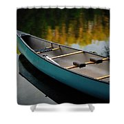 Canoe And Reflections On A Still Lake Shower Curtain