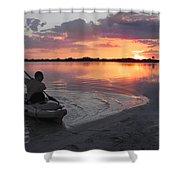 Canoe At Sunset Shower Curtain