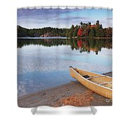 Canoe On A Shore Autumn Nature Scenery Shower Curtain