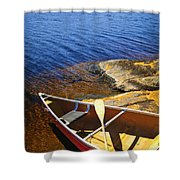 Canoe On Shore Shower Curtain