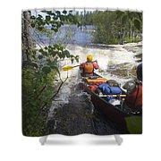 Canoeists Run A Rapid On The Winisk Shower Curtain
