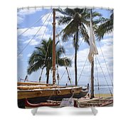 Canoes At Hui O Waa Lahaina Maui Hawaii Shower Curtain
