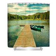 Canoes At The End Of The Dock Shower Curtain