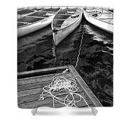 Canoes Docked At Lost Lake Shower Curtain