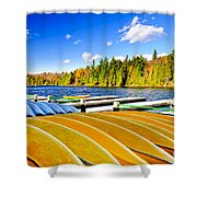 Canoes On Autumn Lake Shower Curtain