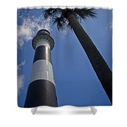 Cape Canaveral Lighthouse With Palm Tree Shower Curtain