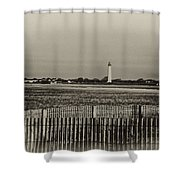Cape May Light House In Sepia Shower Curtain