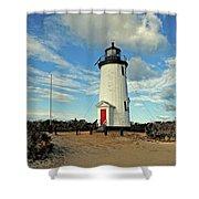Cape Pogue Lighthouse Marthas Vineyard Shower Curtain