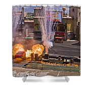 Car And Explosions At Disney Hollywood Shower Curtain