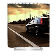 Car On The Road During Sunset Shower Curtain