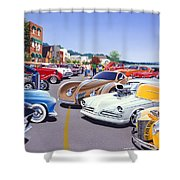 Car Show By The Lake Shower Curtain