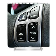 Car Steering Mounted Music Player Buttons Shower Curtain
