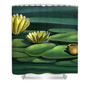 Card Of Frog With Lily Pad Flowers Shower Curtain