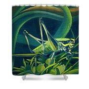 Card Of Mister Grasshopper Shower Curtain