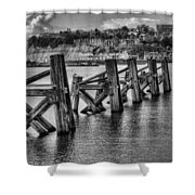 Cardiff Bay Old Jetty Supports Mono Shower Curtain