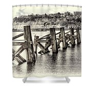 Cardiff Bay Old Jetty Supports Opal Shower Curtain