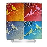 Cardinals Love 2 Pop Art Shower Curtain