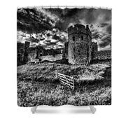 Carew Castle Pembrokeshire 4 Mono Shower Curtain
