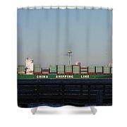 Cargo Ship In Seattle Shower Curtain