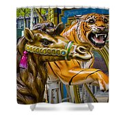 Carousal Camel And Tiger On A Merry-go-round Shower Curtain