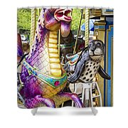 Carousal Dragon And Seal On A Merry-go-round Shower Curtain