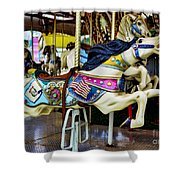 Carousel - Horse - Jumping Shower Curtain by Paul Ward