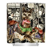 Carousel Cat Shower Curtain