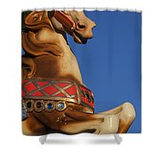 Carousel Horse Against Blue Sky Shower Curtain