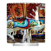 Carousel Horse With Fish Shower Curtain